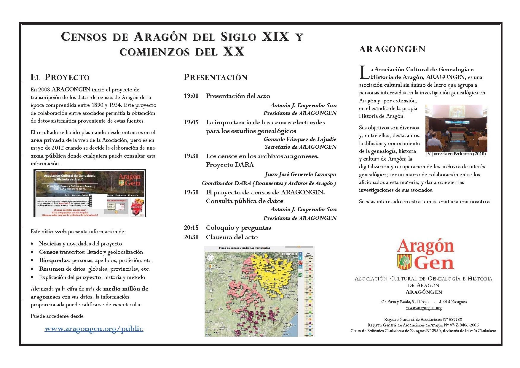 acto de presentación del proyecto de censos en aragón aragongen