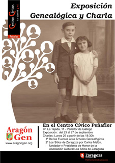Cartel anunciador Exposición Genealogía de ARAGONGEN en Peñaflor (Zaragoza).