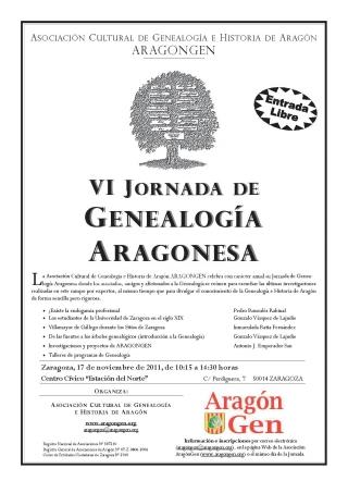 Cartel de la VI Jornada de Genealogía Aragonesa
